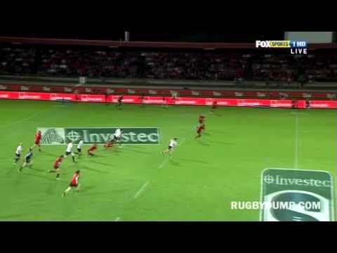 Robbie Fruean chase on Adam-Ashley Cooper - Robbie Fruean's try saving tackle on Adam-Ashley Cooper