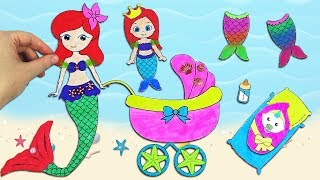Mermaid Paper Dolls & How to Make a Baby Stroller, Mermaid Tails, Mermaid Room for a Paper Doll