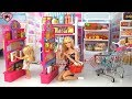 Barbie Doll Grocery Store Supermarket with Hello Kitty Rement Miniature Dollhouse Food