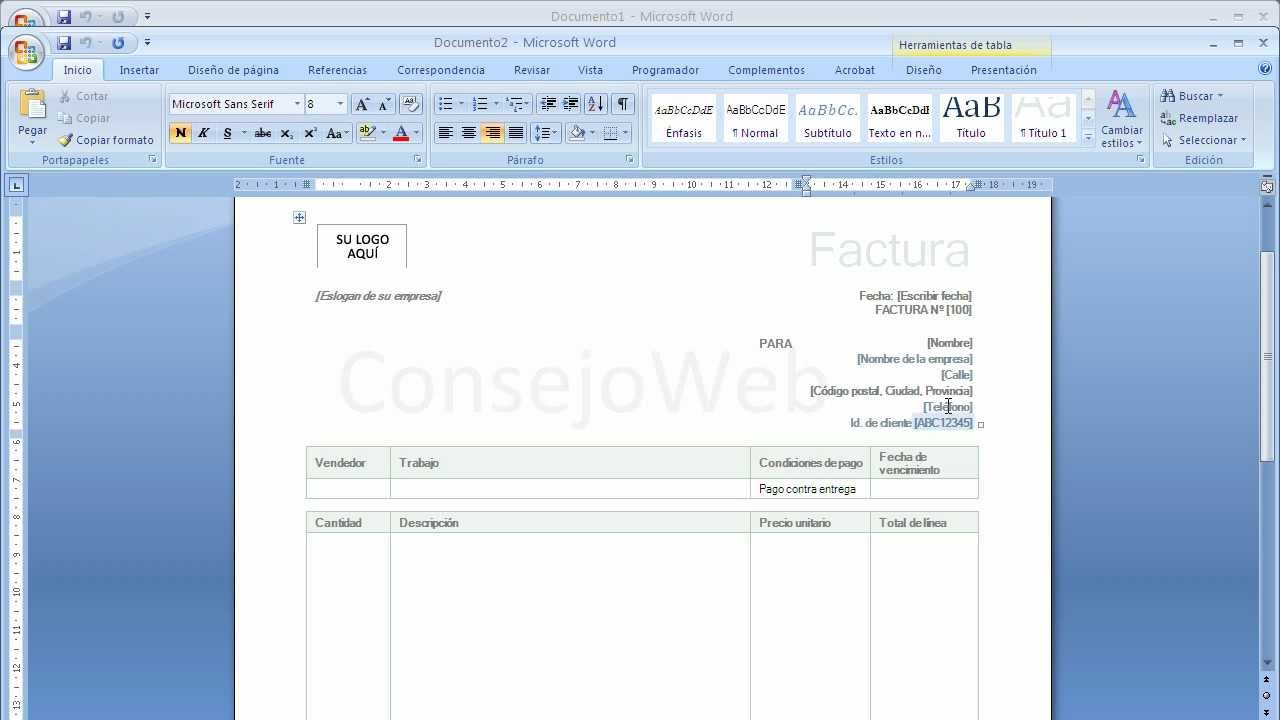 como hacer una factura en word 2007 2010