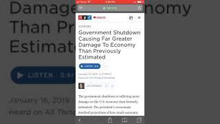 Govt. shutdown doing critical damage to thee U.S Economy