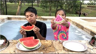 Lil Sis VS Big Bro REAL Foods VS Food Bath Bombs Challenge + Surprise Toy | Toys Academy