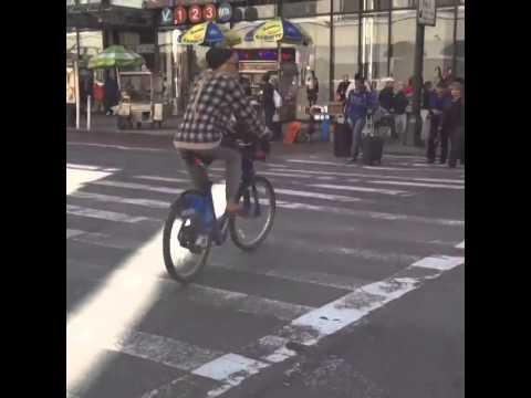 Amanda Bynes on a bike at Penn Station, NYC