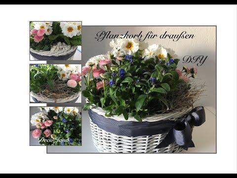 DIY: Upcycling Blumendeko für Balkon oder Terrasse , Brotkorb frühlingshaft dekorieren / Deco Jana