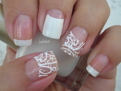 Nail Art - Easy Bridal Nails with Nail Strips - Decoracion de Uñas para Novias
