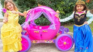Ride On Disney Princess Carriage - Pink Car for Girls Unboxing and Riding