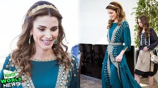 Queen Rania of Jordan dazzles in emerald dress