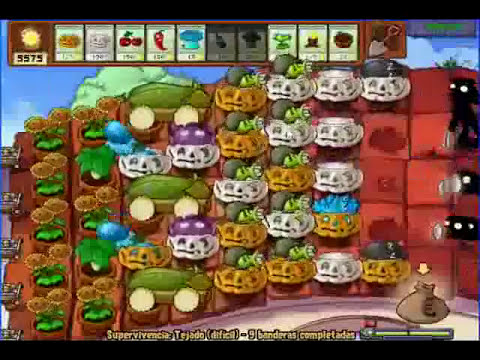plantas vs zombies supervivencia tejado dificil