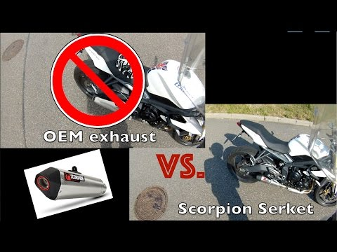 Scorpion Serket Taper vs. Stock exhaust | Acceleration under load | Triumph Street Triple 2014