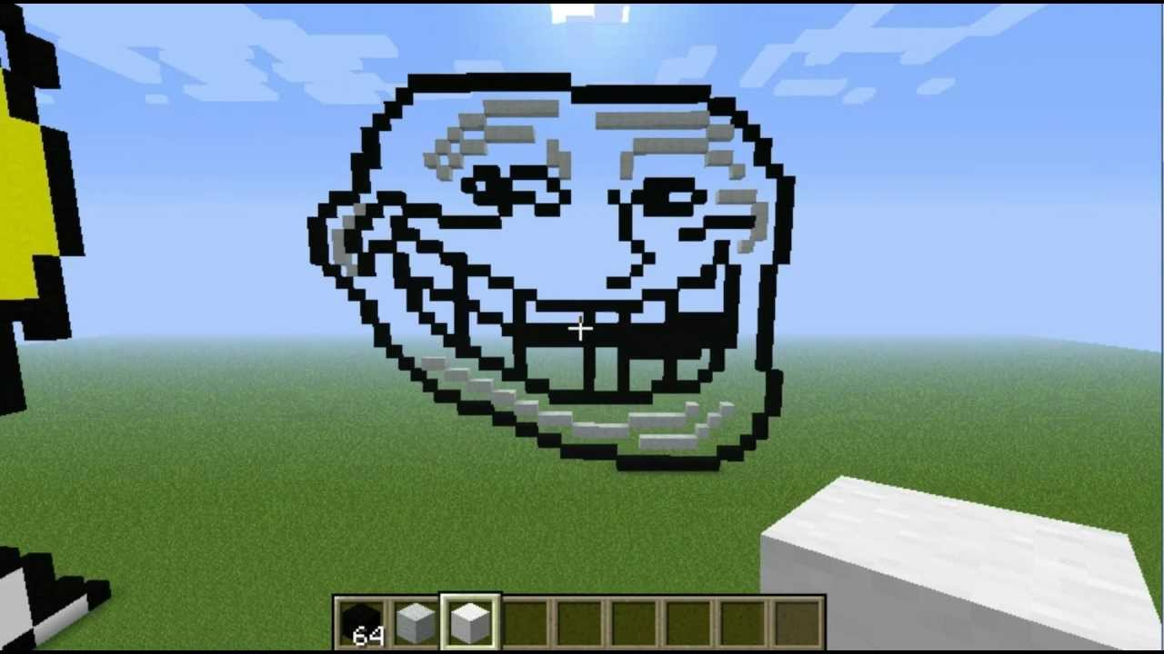 Minecraft Pixel Art Grid Troll Face File Name  maxresdefault jpg