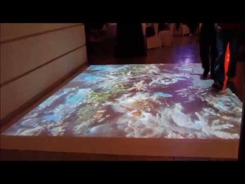 Interactive floor, wall, augmented reality, virtual graffiti, human joystick company Interactstyle