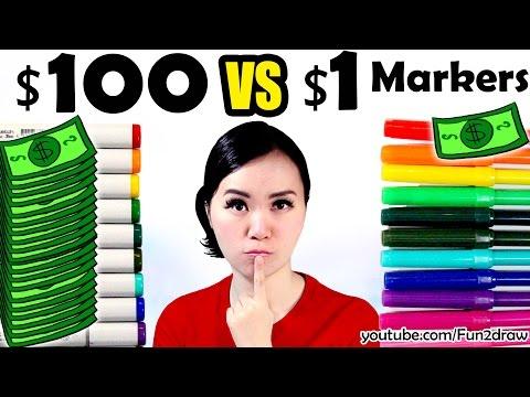 $1 vs $100 MARKER ART CHALLENGE!