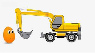 Car - Crane - bulldozer for kids / Oto can cau may ui tre em