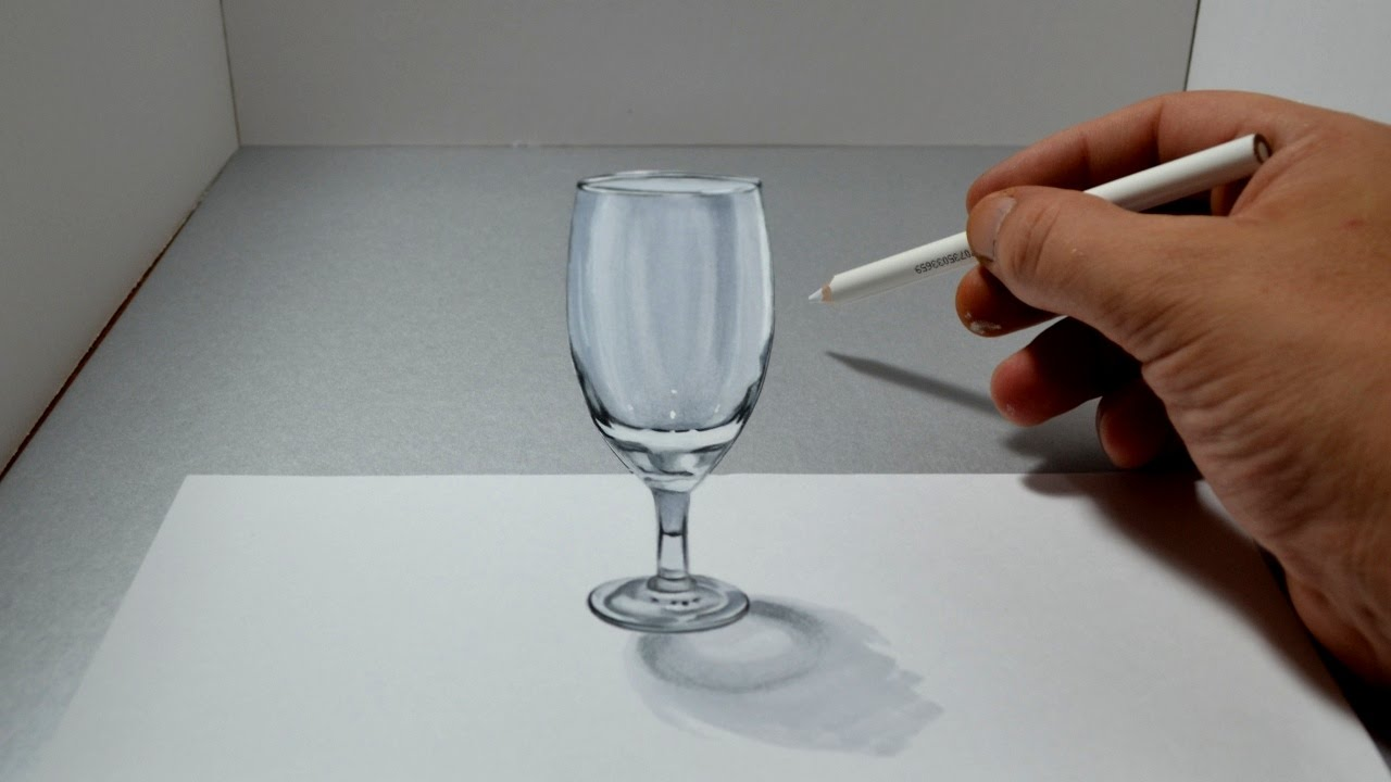 3d wine glass drawing for How to draw on wine glasses