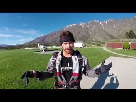 Kellan Lutz skydives over Queenstown, New Zealand