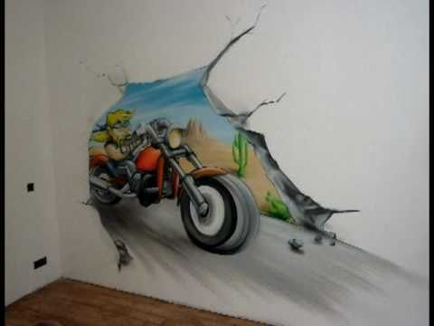 A rosoleil graff d coration fresque murale moto biker for Decoration murale vannerie