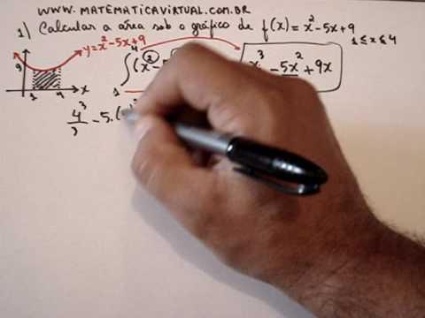 integral definida, cálculo de área e gráfico