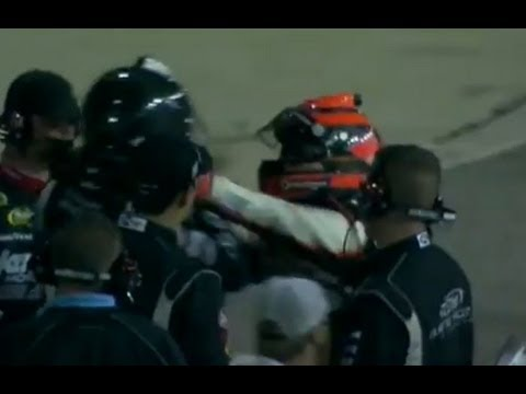Nelson Piquet Jr. kicks Brian Scott below the belt!! NASCAR Fight!