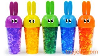 Learn Colors Bunny Bottle Popsicle Ice Cream Mold Play Doh Kinder Surprise Eggs Toys for Kids