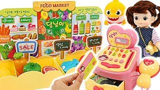 Shopping at Moon mart with Baby Shark and Pororo! Kongsooni Mart cashier play  #PinkyPopTOY