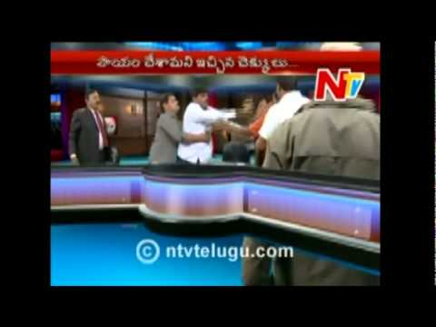 Ntv Telugu Live Fight Political Leaders (Neta) India Live Fight on TV 2010 New Telugu