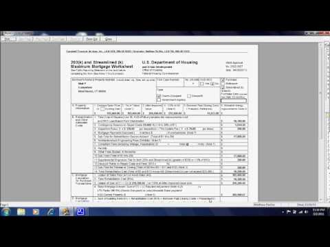 understanding fha 203k maximum mortgage worksheet youtube. Black Bedroom Furniture Sets. Home Design Ideas