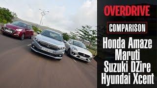 Comparison test: Honda Amaze vs Maruti Suzuki DZire vs Hyundai Xcent | OVERDRIVE