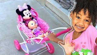 Bad Baby Elli Doing Shopping Supermarket Song - Kids Mini Car Shopping Cart Like Emily