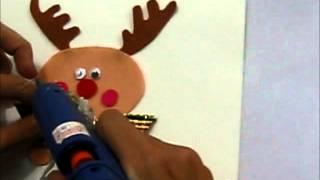 Cách làm thiệp Tuần lộc cầm đèn Giáng Sinh