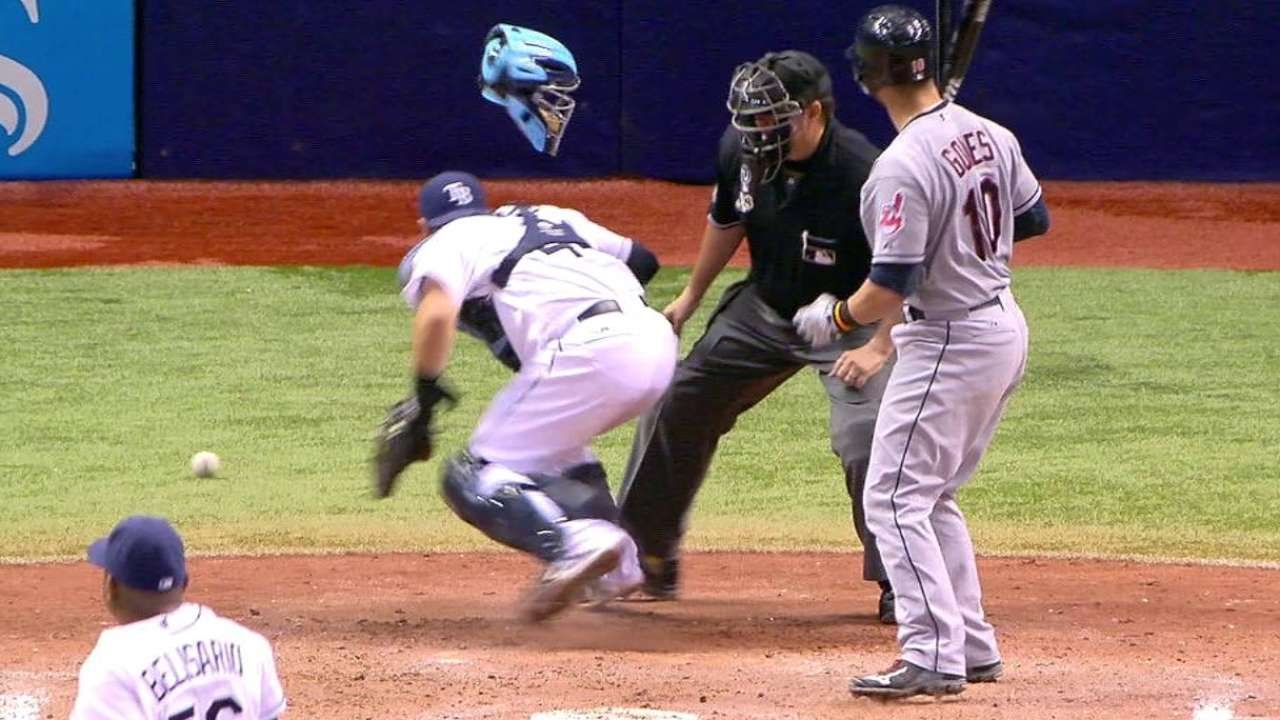 CLE@TB: Raburn comes home to score on a wild pitch