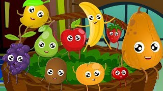 Ten Little Fruits Jumping On The Bed | Fruits Song | Learn Fruits | Nursery Rhymes Song For Children