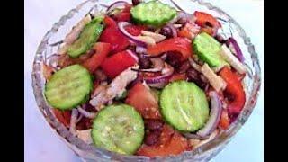 Салат Нарядный - с курицей , овощами и фасолью . Как приготовить салат вкусно и быстро .