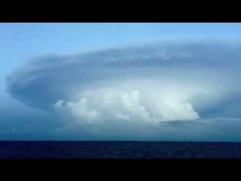 Weird MOTHERSHIP Cloud Formation Moves Across Ocean!!  UFO Shaped!!! WTF!?!
