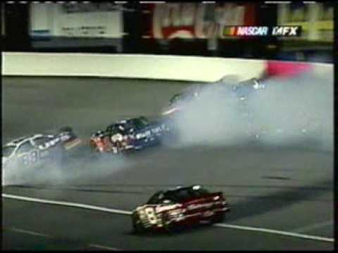 2002 Winston - Marlin, Rusty Wallace, Hamilton, and Jarrett wreck Video