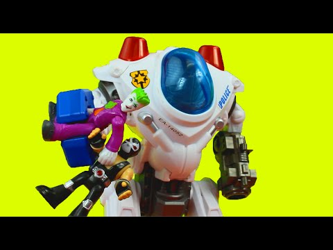 The Joker & Bane capture Imaginext police officer Batman Batbot saves them Just4fun290 dc superhero
