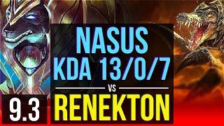 NASUS vs RENEKTON (TOP) | KDA 13/0/7, Legendary | EUW Master | v9.3