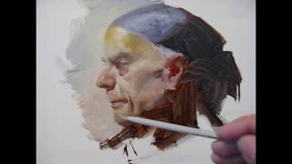 Alla prima portrait painting demo, by Zimou Tan