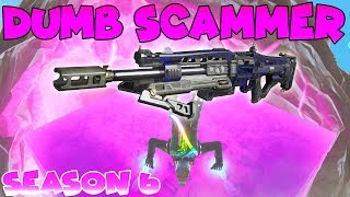 Dumb Scammer Has *NEW* FIRE FIST SEASON 6 GUNS!! (Scammer Gets Scammed) Fortnite Save The World