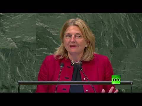 وزيرة خارجية النمسا تستعين باللغة العربية في خطابها أمام الأمم المتحدة