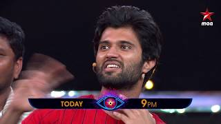 Catch #VijayDeverakonda & #Parusuram with Nani  Tonight in #BiggBossTelugu2 at 9 PM