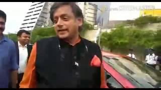 Shashi Tharoor test drives Nissan Leaf electric car.