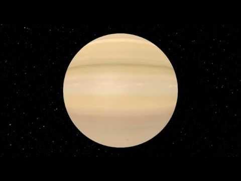 Rotation de la planète Saturne avec gigantesque orage