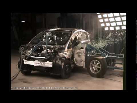 Mitsubishi i-MiEV | Side Crash Test | 2012 | High Speed Camera | NHTSA Full Length test in HD