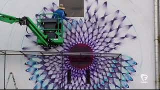 Timelapse of spray paint transforming an empty space into a work of art