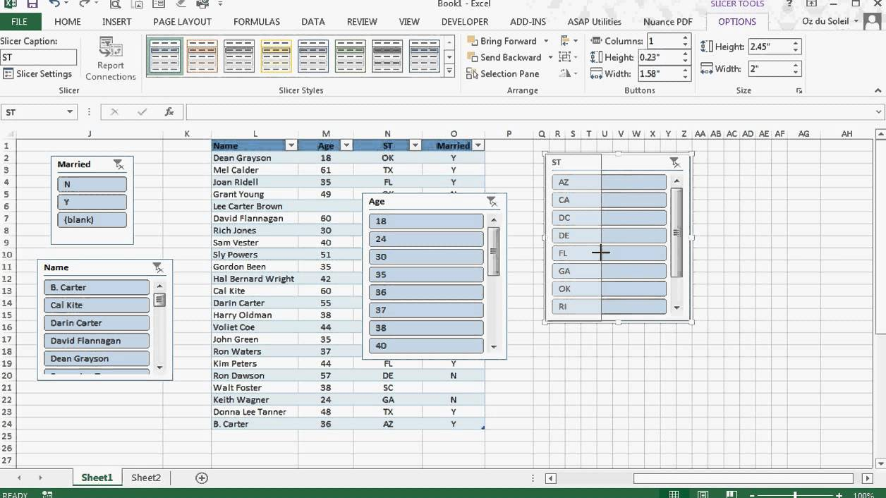 Excel 2013 Slicers Amp Tables Youtube