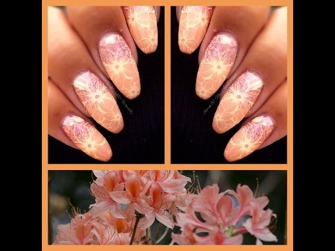 *Stamping Fun Friday* Peach Floral Stamping Nail Art!