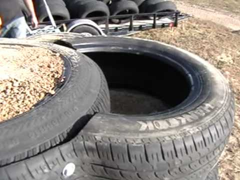 Earthship Construction, Half Tires for blocks