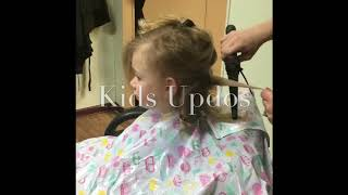 Children's up-style curly hairstyles services for a father daughter dance in Salem Ohio.