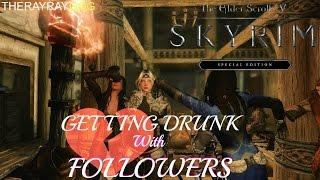 Skyrim SE Getting DRUNK with Followers Vilja, Sofia, Recorder and Lydia