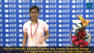 ESE (IES) 2016 E&T All India 3rd Ranker Miss Aswathy Sivanandan Message